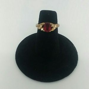 Gold-Tone Ring With Red Gemstone Size 5